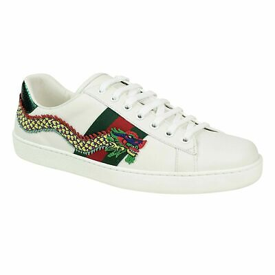 259f4c795 NIB GUCCI White Leather Ace Embroidered Dragon Lace Up Sneakers Shoes 8/9