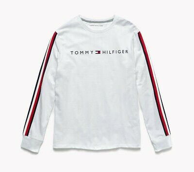 77cc2a5f1 Men's Tommy Hilfiger Nash Racing Stripes Spell Out Long Sleeve T-Shirt  White 2Xl