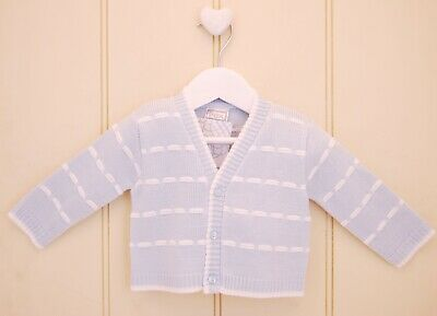 Baby Boys Spanish Style Traditional Sky Blue White Knitted V-Neck Cardigan