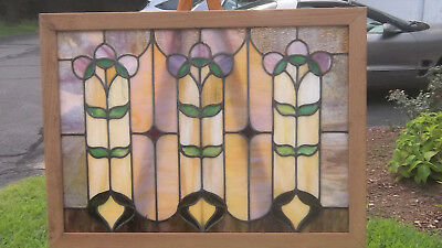 Antique Leaded New England Purple STAINED GLASS Window Circa 1900