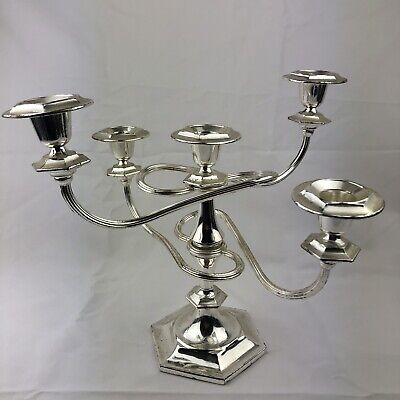 Vintage Silverplate/Chrome 5 Sconce Candelabra/Candlesticks Twisted Movable Arms