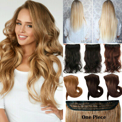Extra Long Clip in Hair Extensions Half Full Head One Piece Curly Straight Real