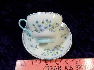 SHELLEY Blue Rock Cup & Saucer set HENLEY Shape 1950's Footed Gold Scroll Border