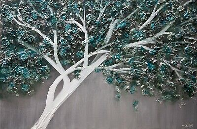 Modern Abstract Textured Teal tree painting Blooming Tree Painting  by Osnat