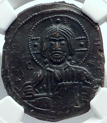 JESUS CHRIST Class A3 Anonymous Ancient 1020AD Byzantine Follis Coin NGC Ch AU
