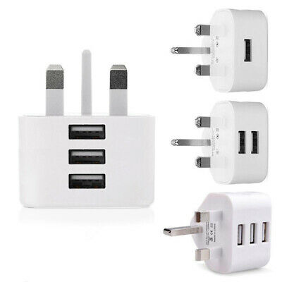 UK Plug 5V 1/2/3 Port USB Charger Adapter Wall Charger for iPhone X Samsung S7