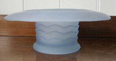 ART DECO frosted pastel blue etched matt glass posy bowl Bagley Antique