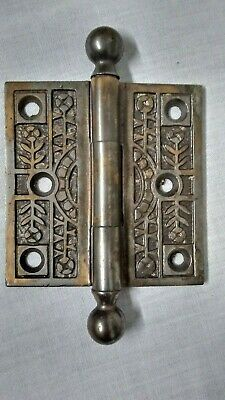 "Antique Brass Eastlake Ornate Cannonball Hinge (Single) 3"" x 3"""