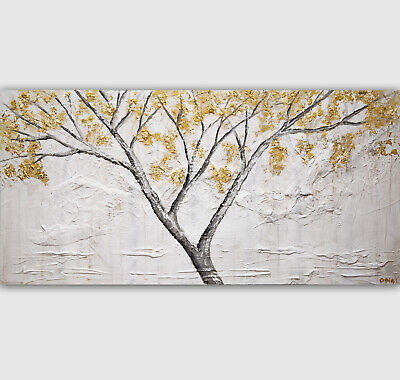 Original Gold textured Blooming Tree abstract painting on canvas by Osnat Tzadok