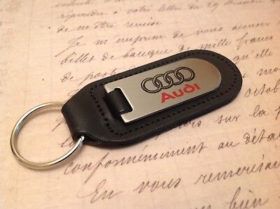 Audi Black Leather Key Ring Fob Etched And Infilled A Q R 1 2 3 4 5 6 7 8