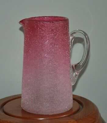 LARGE VICTORIAN GRADUATED CRANBERRY GLASS JUG WITH TEXTURED CRACKLE FINISH c1880