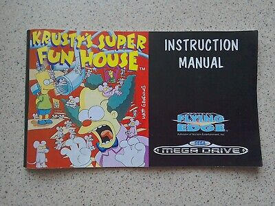 Krusty's Super Fun House Manual - Sega Mega Drive - NO GAME MANUALS ONLY (PAL)