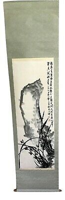 JAPANESE HANGING SCROLL ART Painting Flowers Landscape Asian w/ BOX 18 x 64