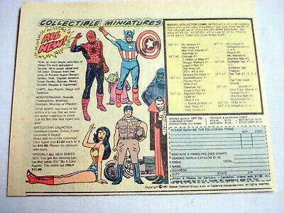 1981 Heroes World Color Ad Collectible Super Hero Miniatures Captain America