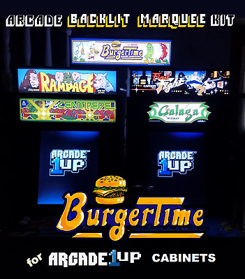 Arcade1up Burger Time Backlit Marquee Kit for Arcade1up Cabinets