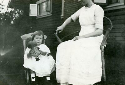 ZZ601 Vtg Photo CHILD HOLDING DOLL CHILD'S CHAIR W MOTHER, WICKER c Early 1900's