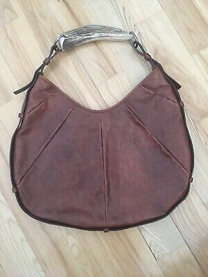 4c25744c370 Yves Saint-Laurent Mombasa Brown Leather Horn Bag Purse Hobo Vintage