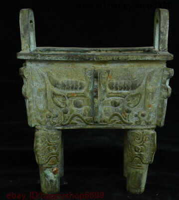 Old Chinese Ancient Bronze Ware Dragon Beast Ding Incense Burner Censer Statue