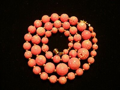 antique Chinese carved pink coral bead necklace 5mm - 11.5mm beads