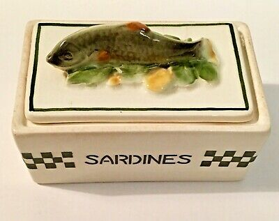 Vintage ART DECO Czech SARDINES Box Pottery China Fish Lidded Dish Ditmar-Urbach