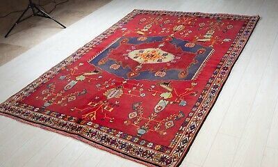 8.6ft x 5.31ft Hand-Knotted Antique Sirjan Area Rug Red Vintage Wool Carpet 5×8