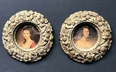 RARE Vintage Canvas Paintings Gold SYROCO WOOD Antique Frames PRINTS Art Small