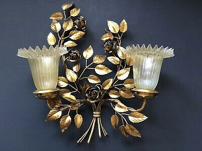 Vintage ROSES Gold Gilt LIGHT SCONCE Hollywood Regency GLASS Antique *RARE Metal