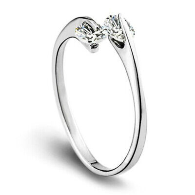 Women's 925 Sterling Silver Double Shiny Crystal Ring Fashion Jewelry Size 7