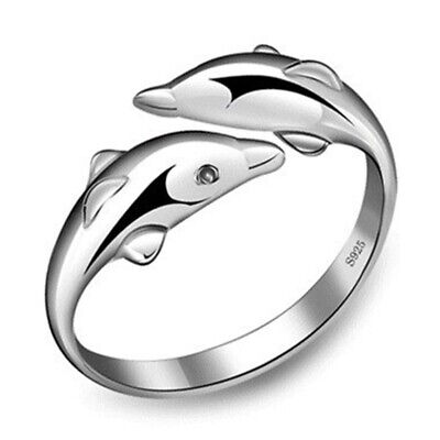Women's 925 Sterling Silver Open Ring Double Dolphin Fashion Jewelry Size 7