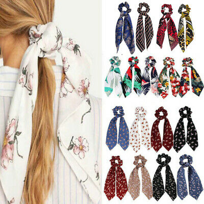 Attractive Ponytail Scarf Bow Elastic Hair Rope Tie Ribbon Hair Accessories Gift