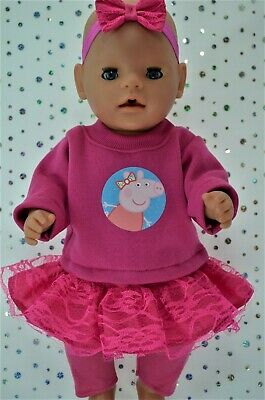"""Play n Wear Dolls Clothes To Fit 17"""" Baby Born  LACE SKIRT~LEGGINGS~TOP~HEADBAND"""