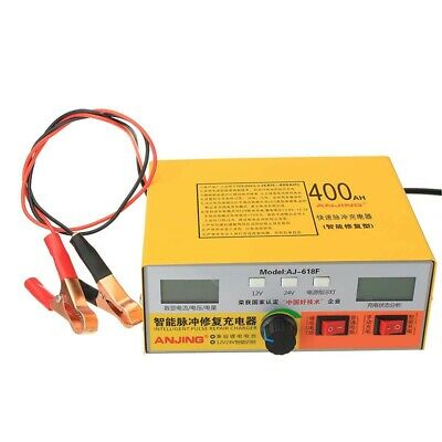 1X(Automatic Intelligent Pulse Repair Type 12V/24V 400Ah Car Battery Charger 2L