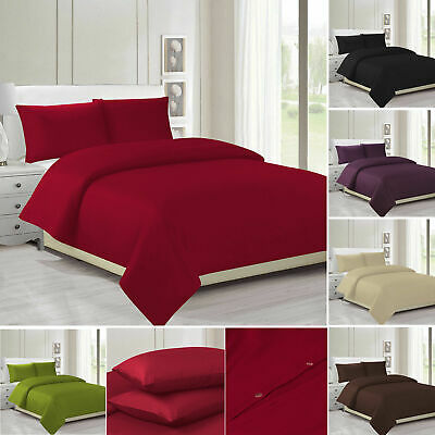 Plain Dyed Duvet Cover Quilt Bedding Set With Pillowcase Single Double Size Bed