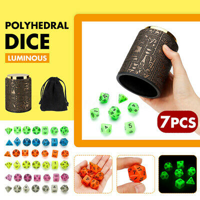 7 Set Dice Cup Holder with Polyhedral Dice Set Drinking Board Game