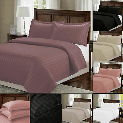 Satin Stripe Quilt Duvet Cover with Pillowcase Set For Single Double King Size