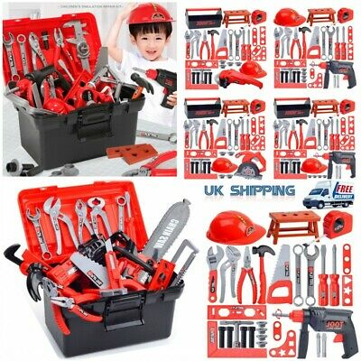 Kids Childs Role Play Toy DIY Builders Building Construction Drill Tool Box Set