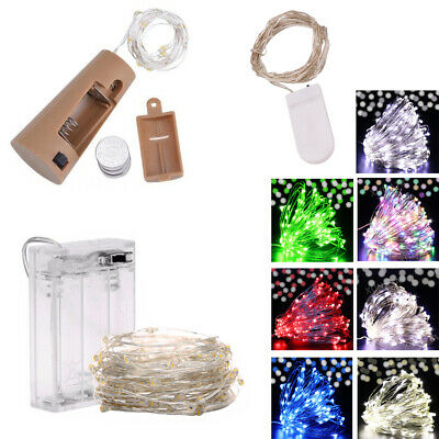 20-100 LED Battery Micro Rice Wire Bottle Cork Copper Fairy String Lights Party