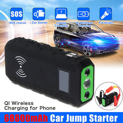 68800mAh 12V Vehicle Car Jump Starter Battery Booster QI Wireless Bank