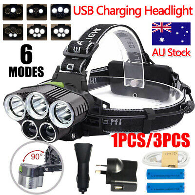 1/3Pcs 100000Lm 5X Xm-L T6 Led Headlamp Head Light Torch Flashlight Camping Lamp