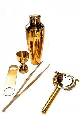Kit Barman 5 Pieces Gold Colour Vintage Lumian Black01 Bartender