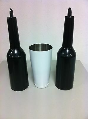 Flair Bottle Set Colour Black Boston Tin White Barman Bartender Tools
