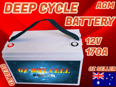 New 170Ah Agm 12V Deep Cycle Battery Boat Trailer Sealed Portable Power Recharge