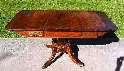 Antique Regency Rosewood Brass Inlaid Sofa / Library Table