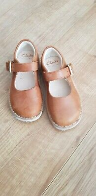 fbf197d5131 Clarks Crown Honor Girls Infant Leather Mary Jane Shoes 7.5 F Tan
