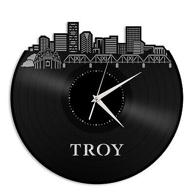 Troy MI Vinyl Wall Clock Skyline Exclusive Gift for Friends Home Decoration
