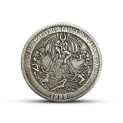 1889 Silver Morgan Dollar Hobo Devil Satan Lucifer Carved Fantasy Coin NEW F2L1
