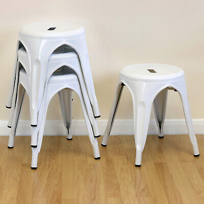 Set of 4/Four 44cm Low White Round Metal Stools Industrial/Kitchen/Cafe Seat