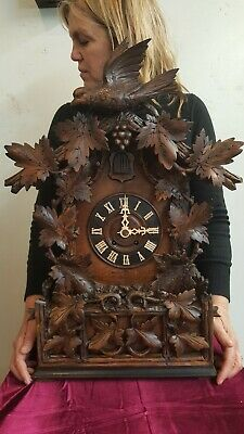Beautiful large antique black forest mantle cuckoo  clock from Germany