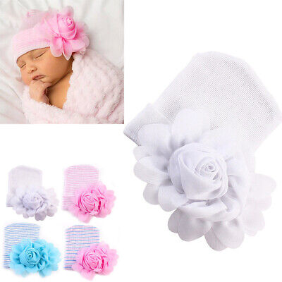 Lovely Newborn Baby Girls Infant Big Flower Soft Cotton Hospital Cap Beanie Hat