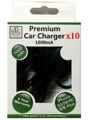 WHOLESALE JOBLOT - 10 x GVC 1000mA Car Charger For Apple Iphone 5/6/7/8/X etc..